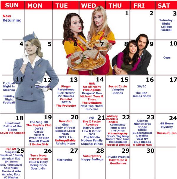 2011 Fall Tv Premiere Schedule Skripper Time